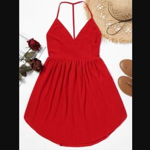 Red Backless Mini Dress